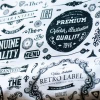 Tkanina bawełniana Retro Label